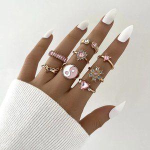 Vintage Gold & Pink y2k Ring Set 🤍☁️